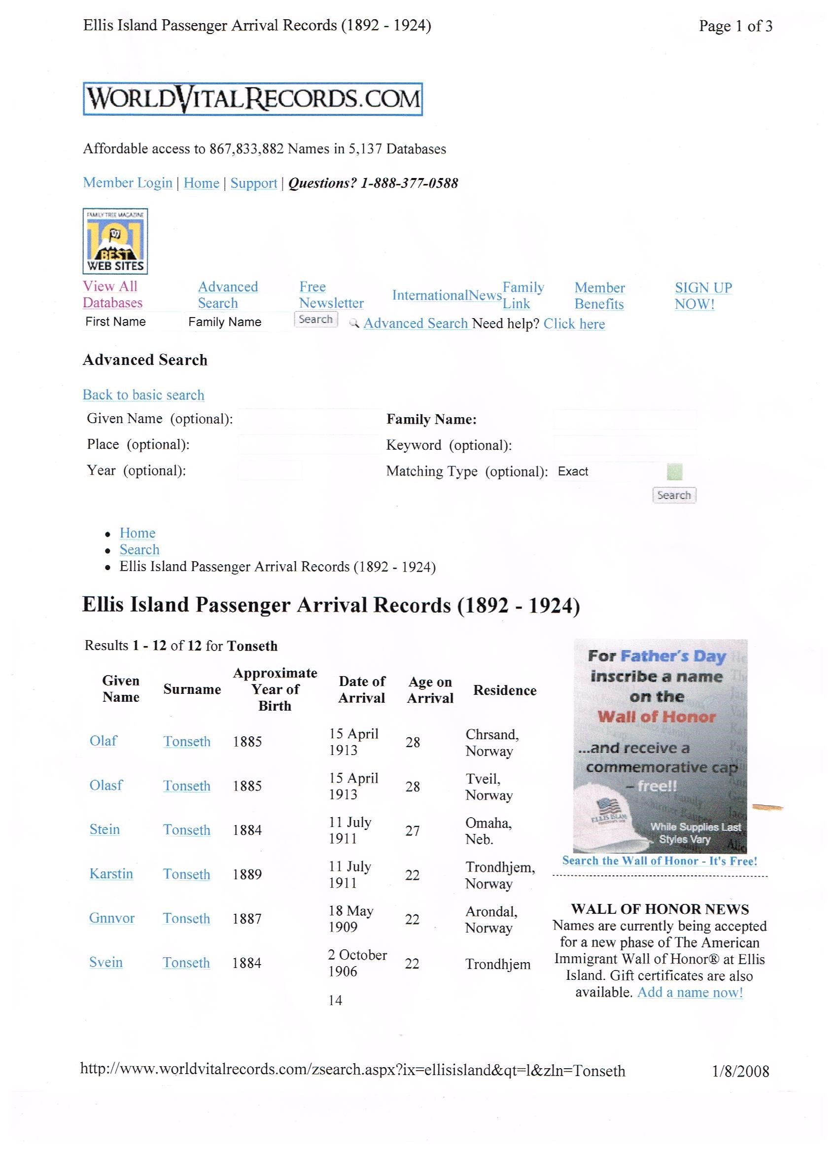 not Ellis Island passenger arrival Records (1892-1924)