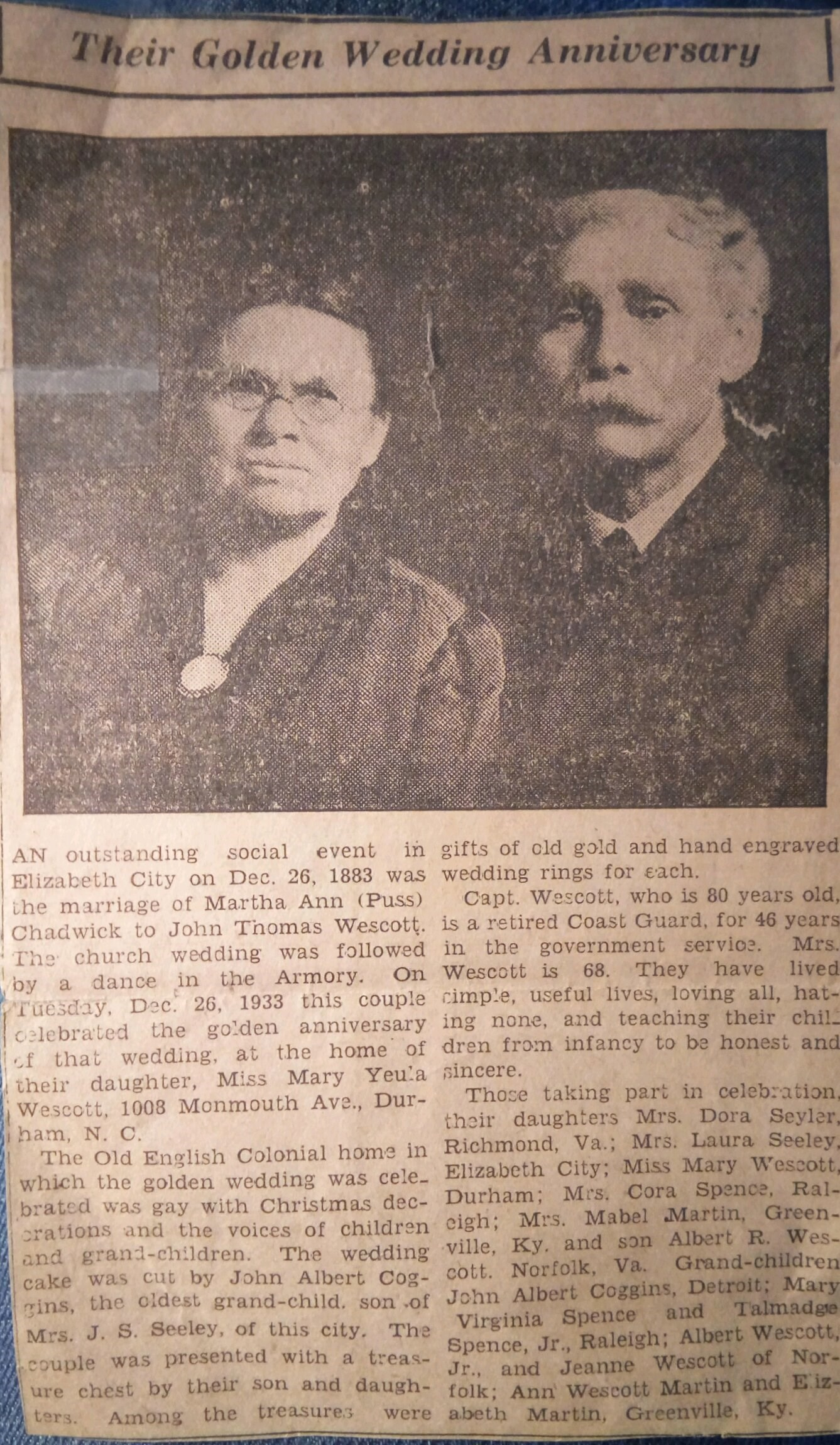 John T Wescott and Martha Chadwick's Golden Wedding Article