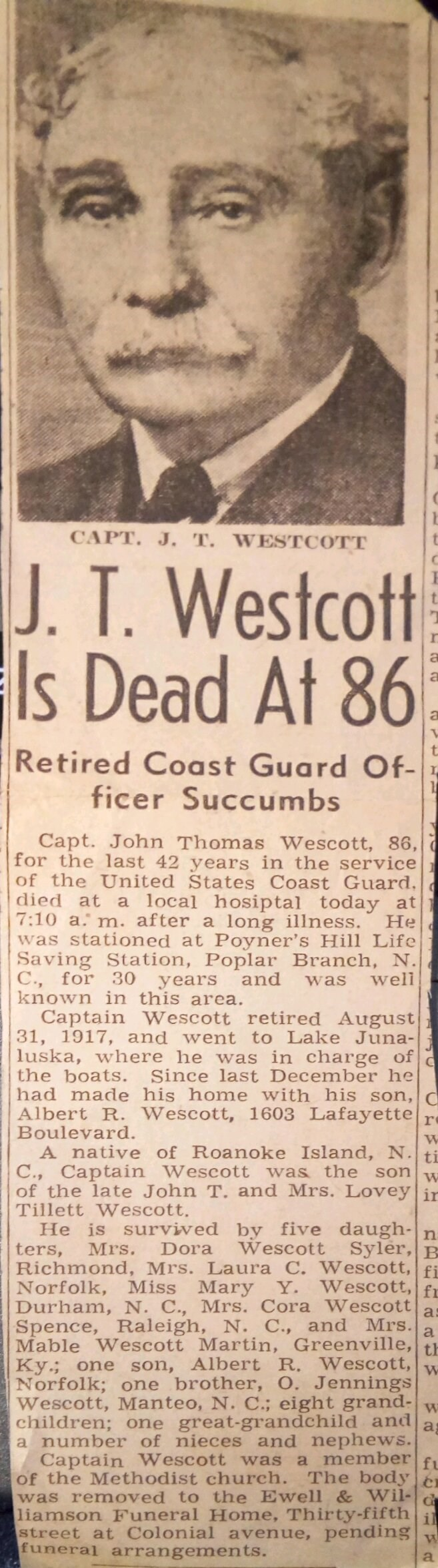 John T. Wescott dead at 86 Newspaper Article