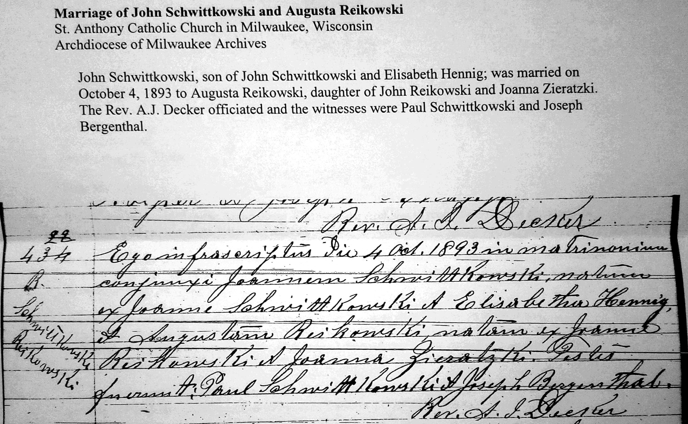 Marriage of John Schwittkowski and Augusta Reikowski