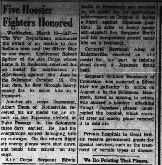 1943-03-10 The Tribune (Seymour, Indiana) Page 2 Air Medal