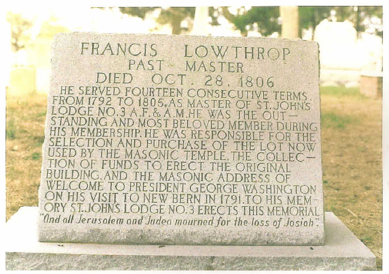 Francis Lowthorp Monument Sarah Minerva Lowthorp Grandfather