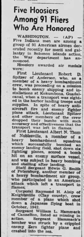 1943-03-10 Palladium-Item (Richmond, Indiana) Page 9 re Solomons