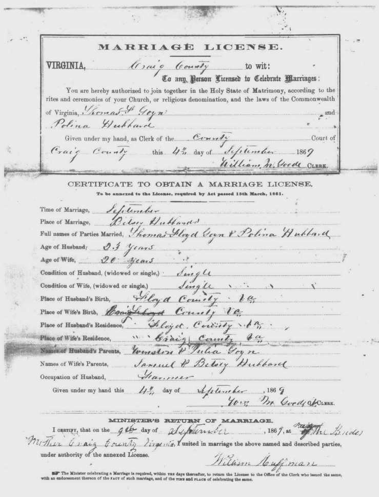 Marriage license for Thomas Goins and Paulina Hubbard