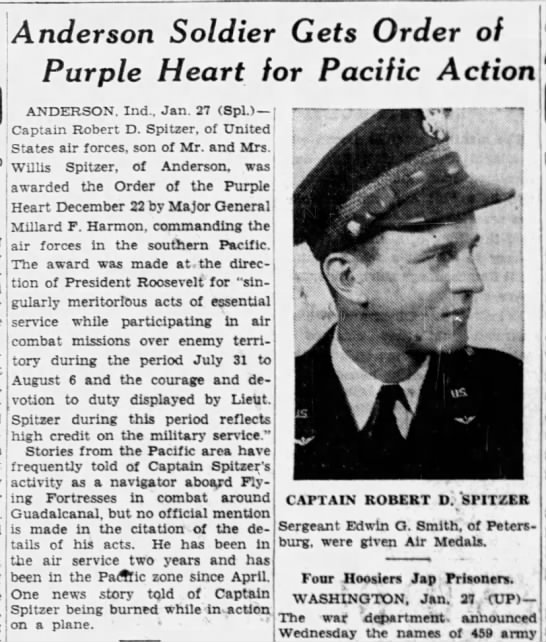 1943-01-27 The Indianapolis News (Indianapolis) Page 18 re Cpt Robert D Spitzer