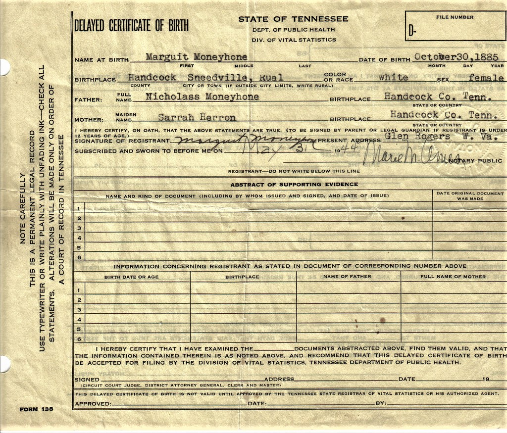 1885-10-30 Moneyhun, M L Delayed Birth Certificate