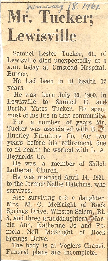 Samuel Tucker Obituary