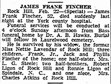 FINCHER,JAMES FRANK  OBIT  THE STATE  23 FEB 1947  PG 2A