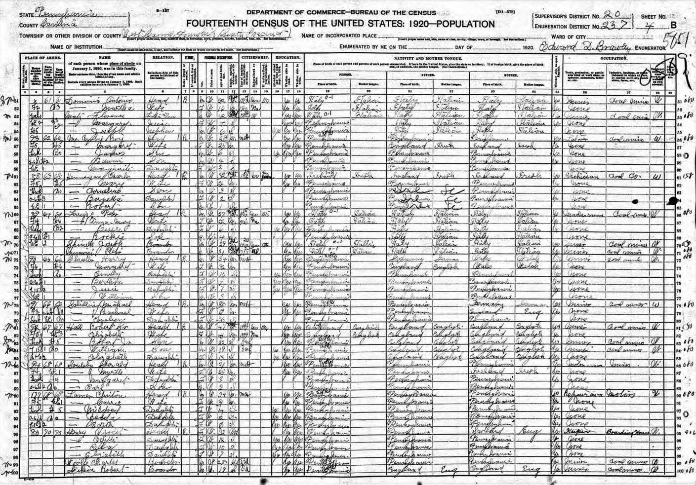 1920 Census Roy McCombie with Wife