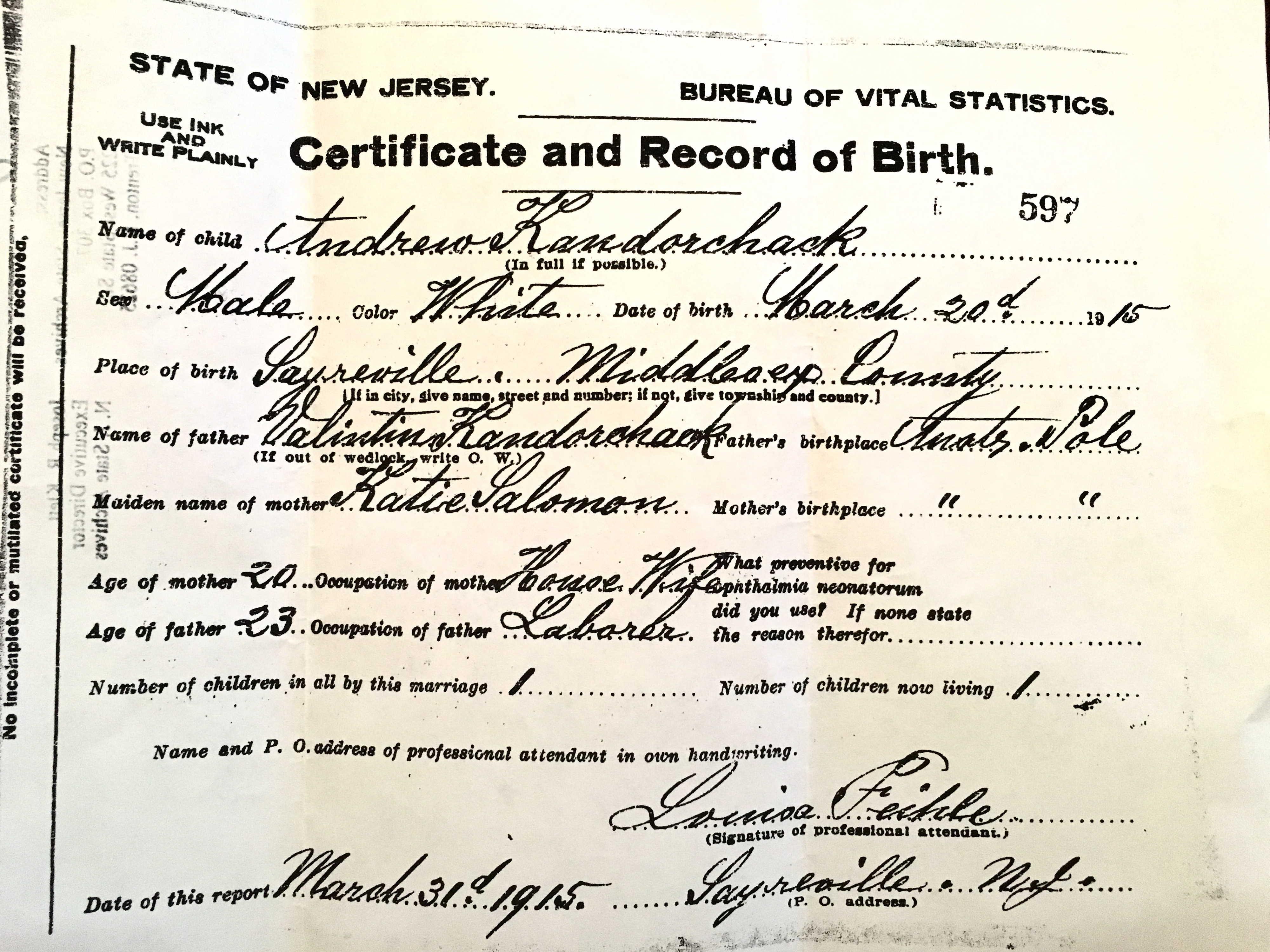 1915-03-20 Birth Certificate - Bernard Contorchick