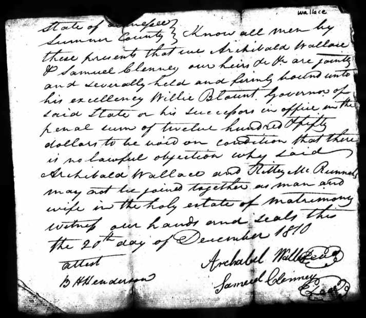 Archibald Wallace & Ritty McReynolds Marriage Certificate