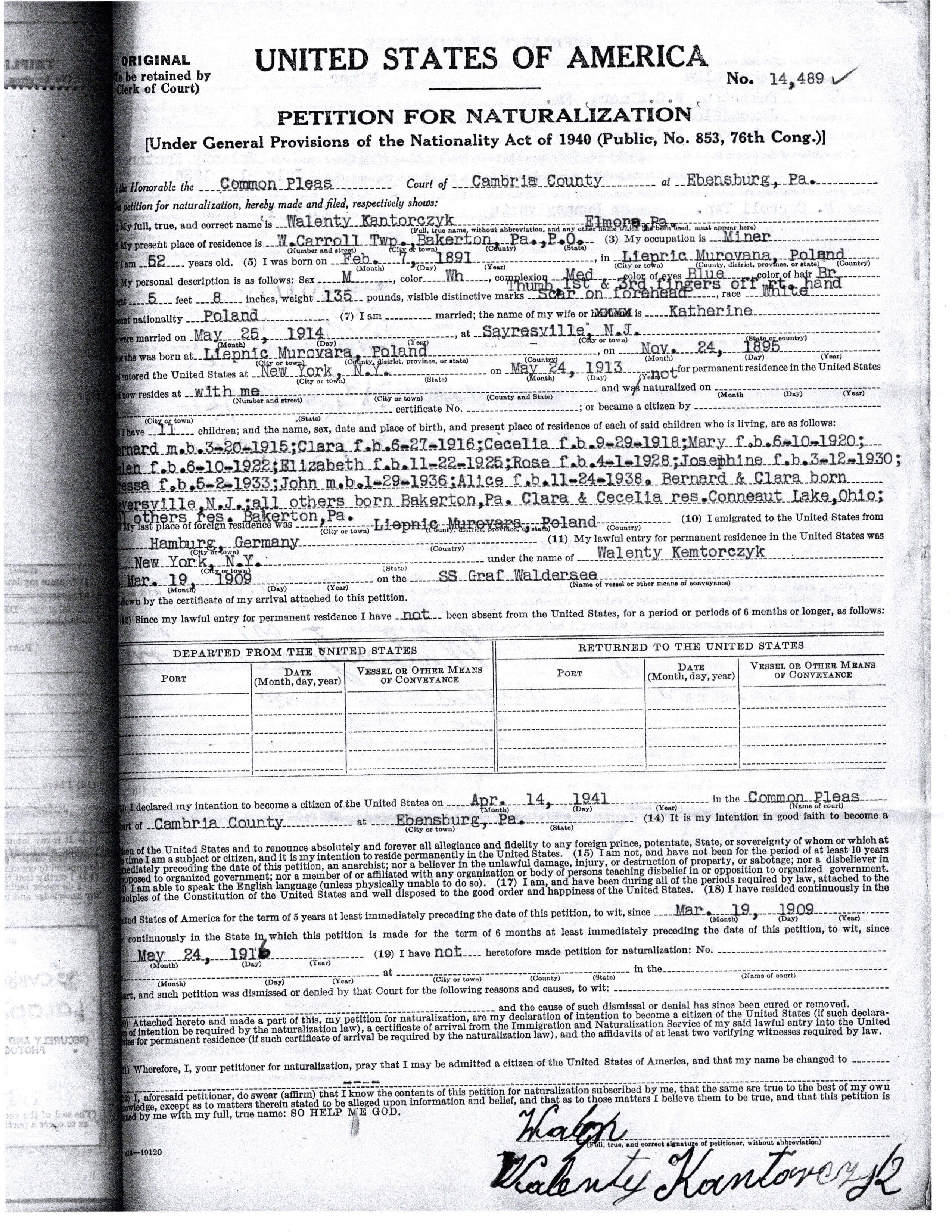 1941-04-14 Petition For Naturalization - Walenty Kantorczyk