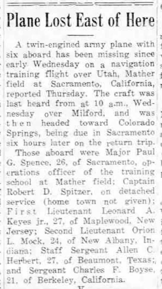 1943-07-13 Utah Crash - Robert Spitzer