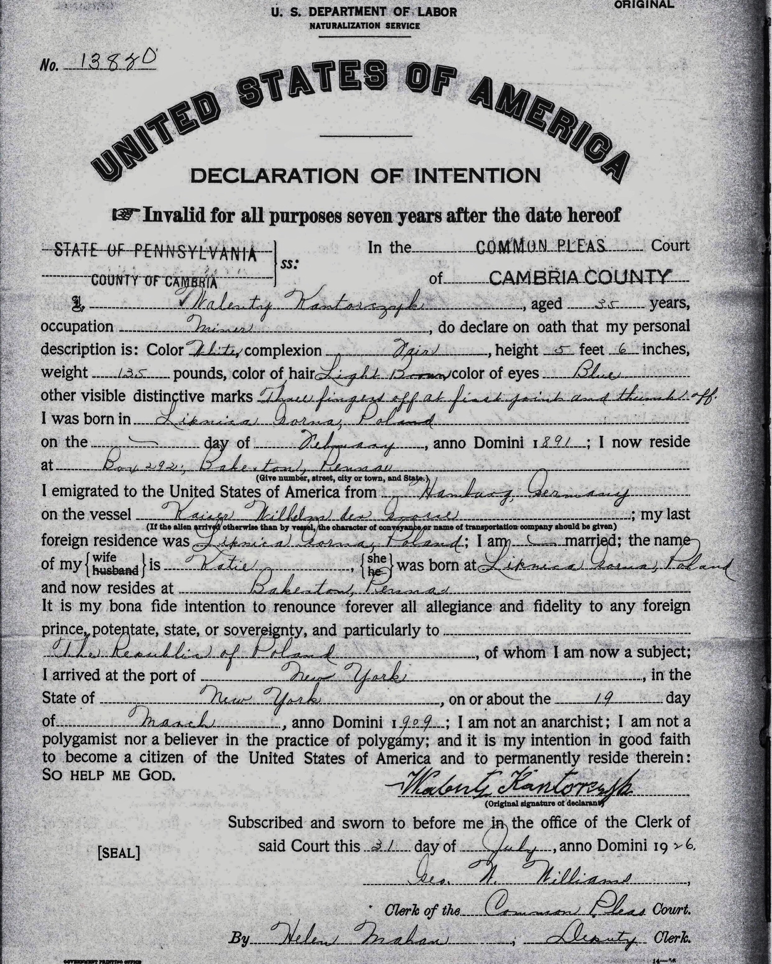 1926-07-31 Declaration of Intention (Naturalization) Walenty Kantorczyk