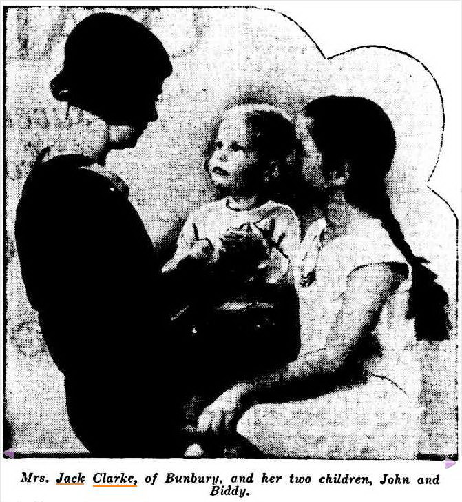 Mrs. Jack Clarke, of Bunbury, and her two children, John and Biddy