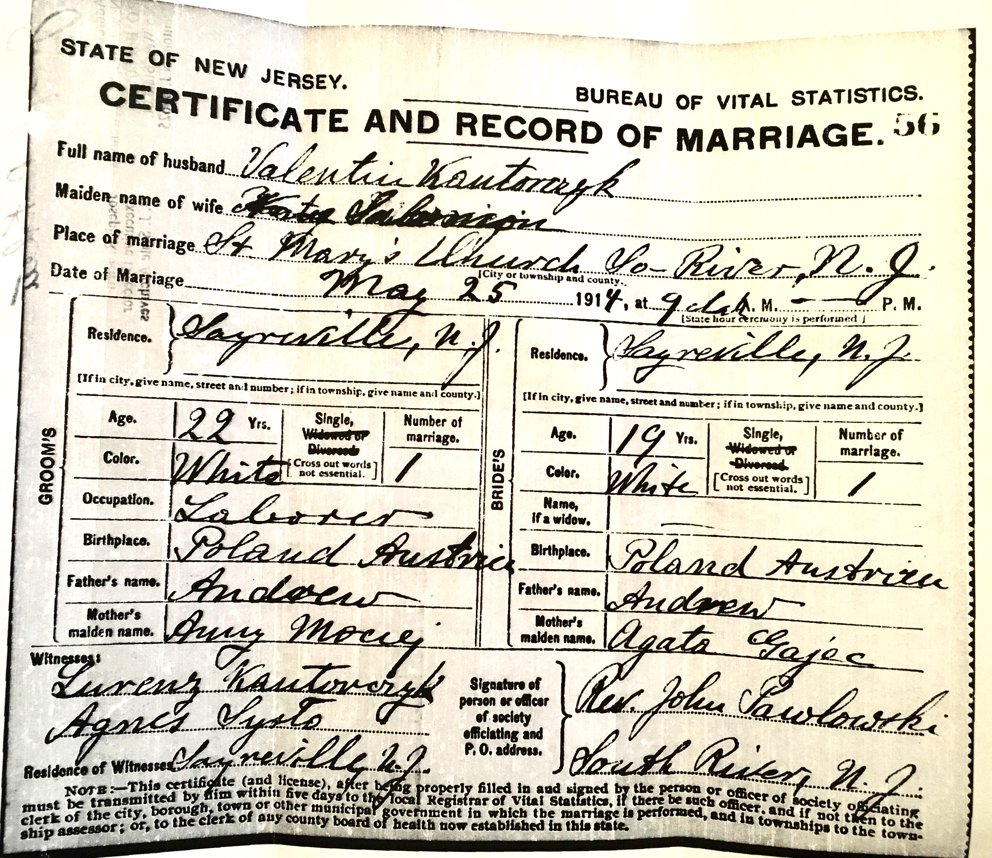 1914-05-25 Certificate of Marriage Valentine and Katrina Contorchick