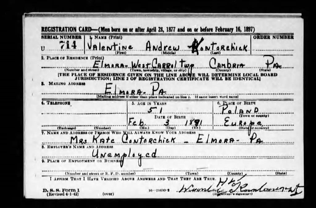 1942-04-27 Valentine Andrew Contorchick Registration Card