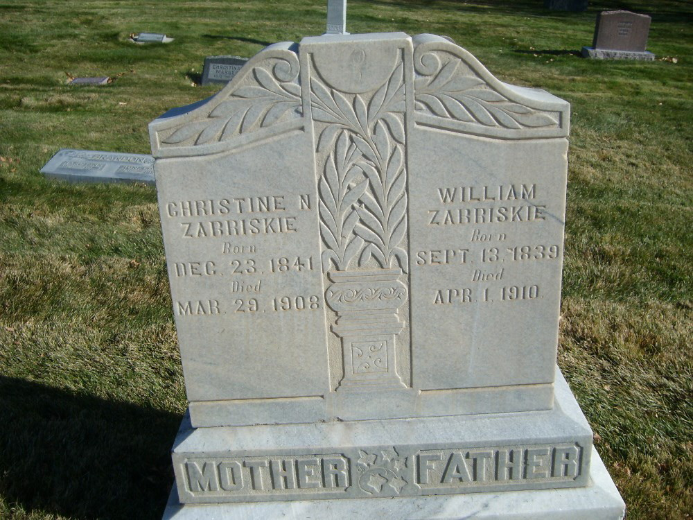 Christine Zabriskie and William Zabriskie Headstone