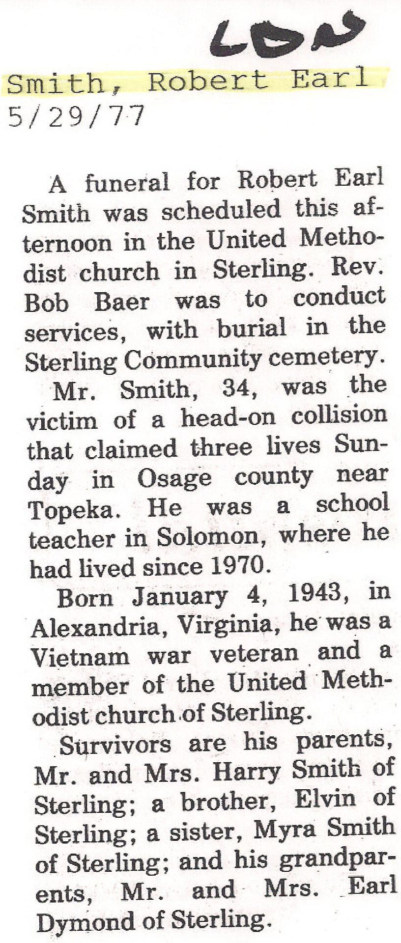 Robert Earl Smith Obituary
