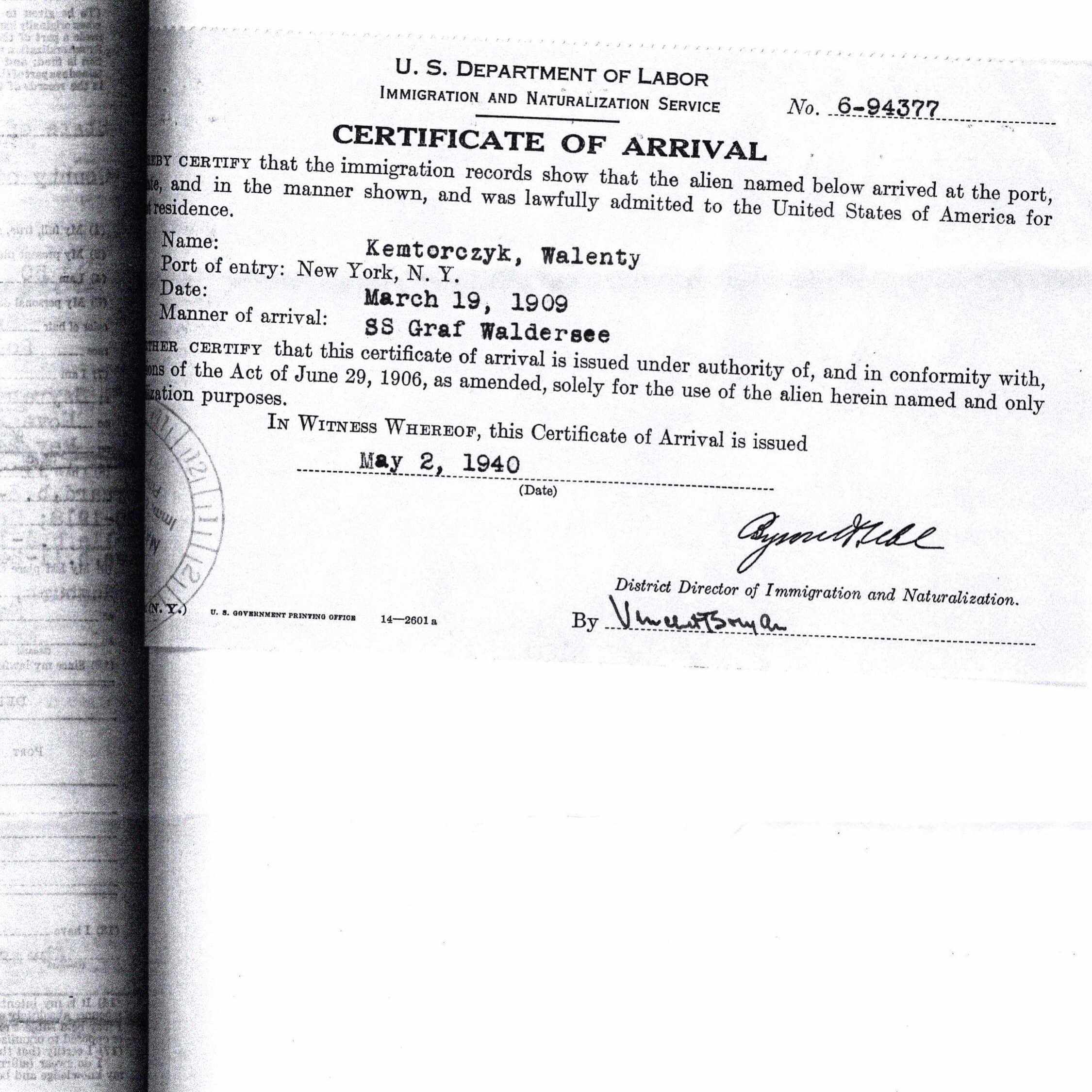 Certificate of Arrival (Naturalization) Walenty Kantorczyk