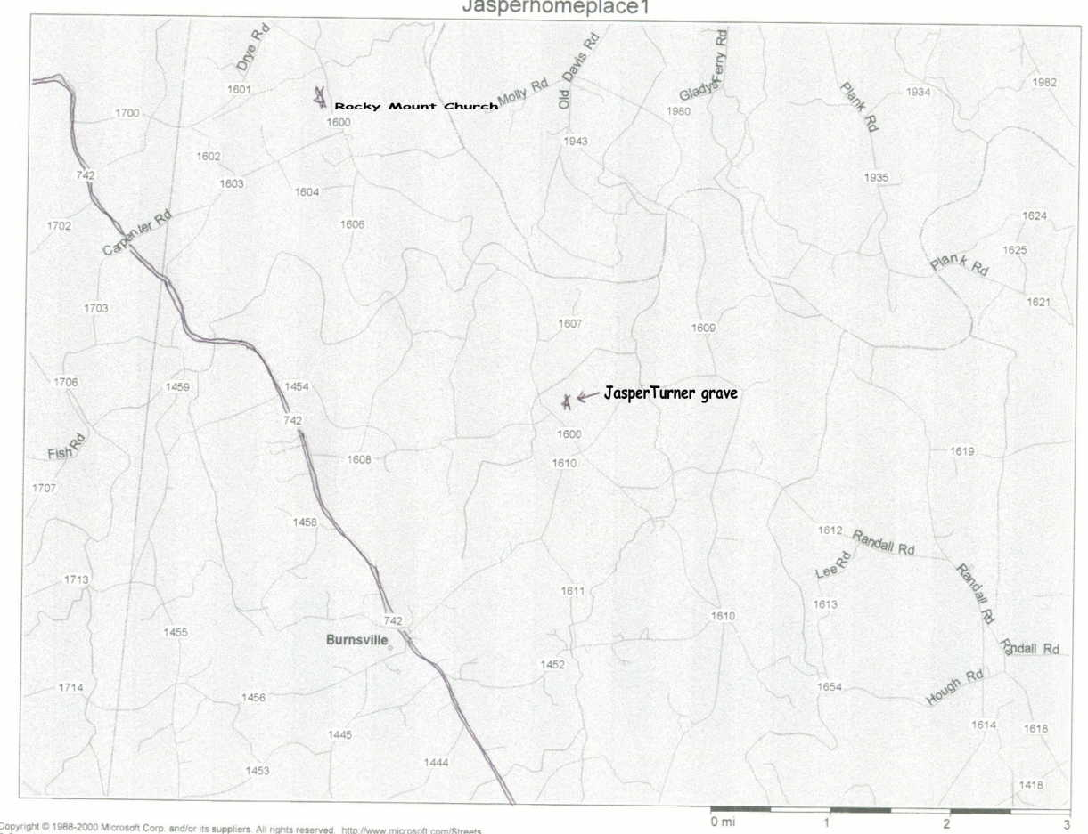 Map to Burnsville,Anson cnty,N.C.