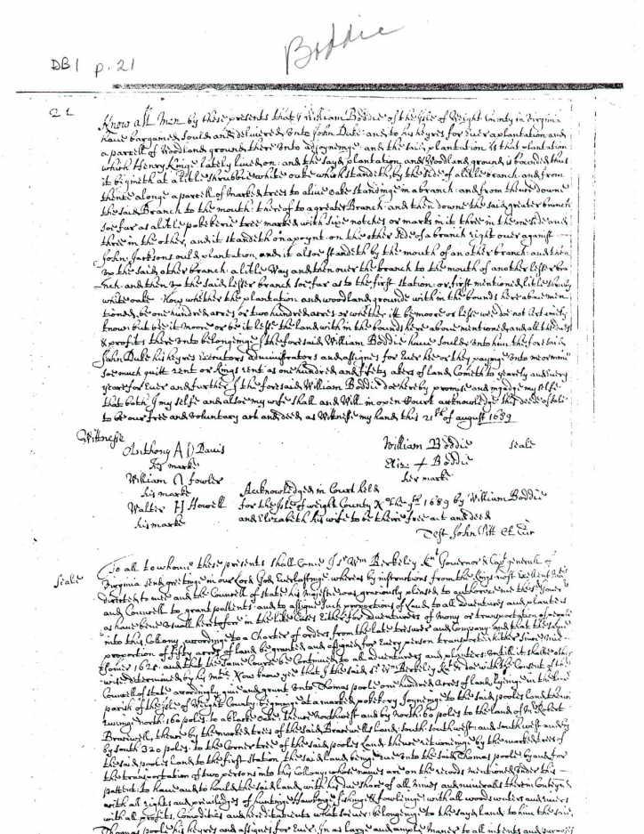 John Duke 1689 Rents Land from William Bodie