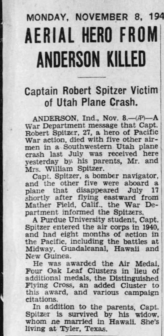 1943-11-8 Mucie Evening Press (Indiana) Page 5 re Cpt Robert Spitzer