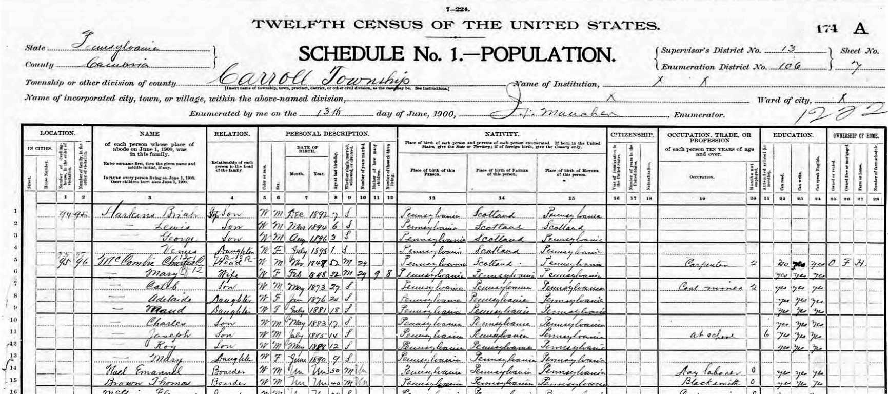 1900 Census - Roy McCombie with Parents