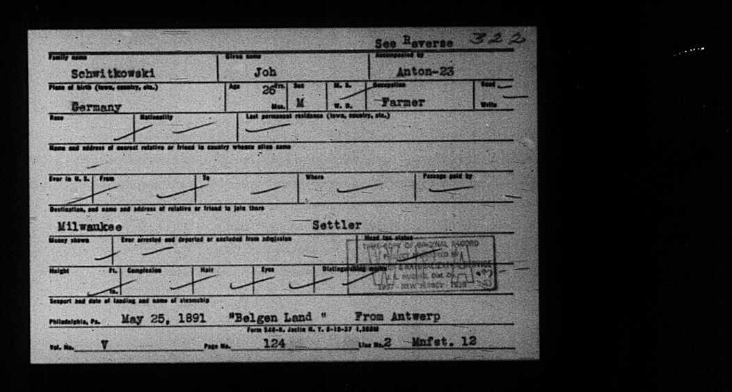 not John and Anton Schwitkowski PA Passenger Index Card