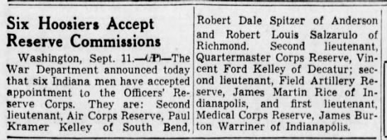 12 Sep 1941 The Indianapolis Star (Indiana) Page 25 Reserve Commissions