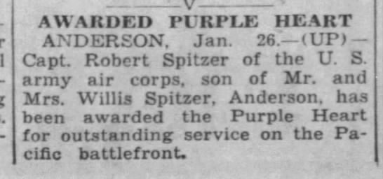 1943-01-26 Journal and Courier (Lafayette Indiana) Page 1 Purple Heart Award