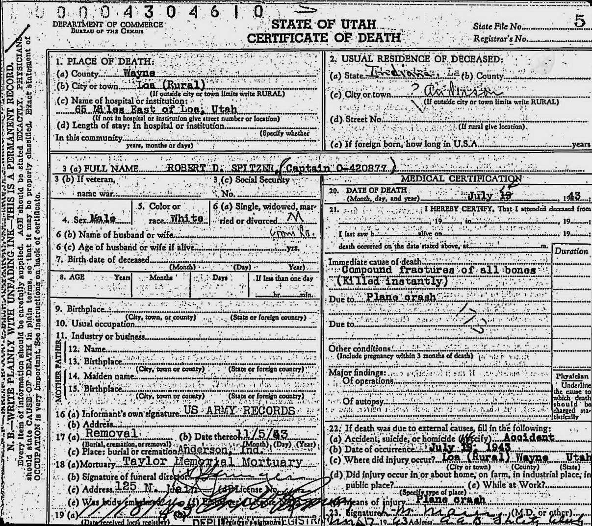Death Certificate Robert D Spitzer
