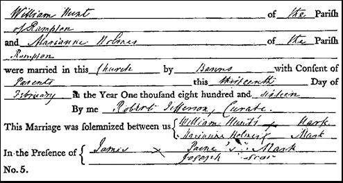 Hunt, William - Holmes, Marianne marriage 1816