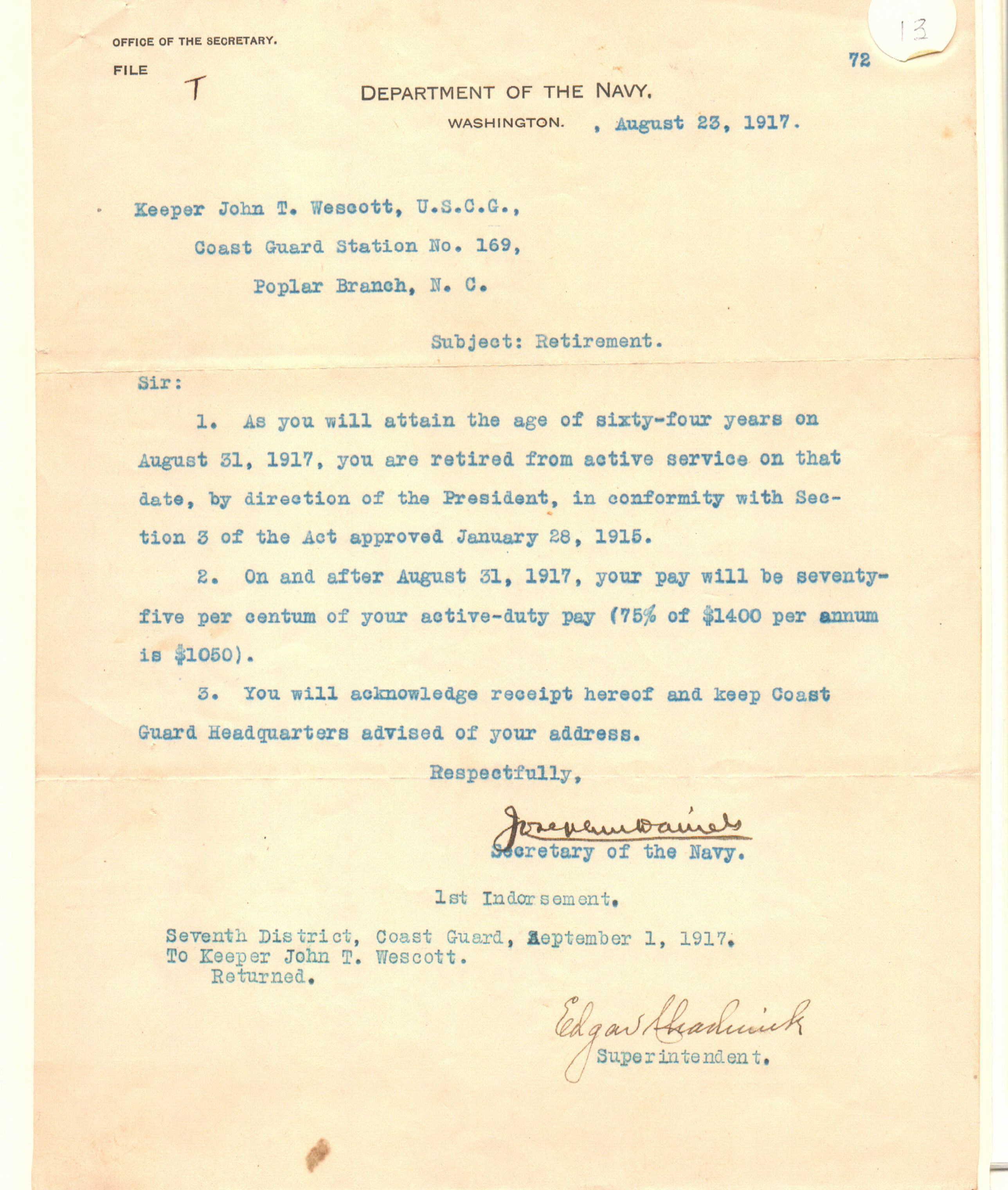 John T. Wescott Retirement Letter 1917