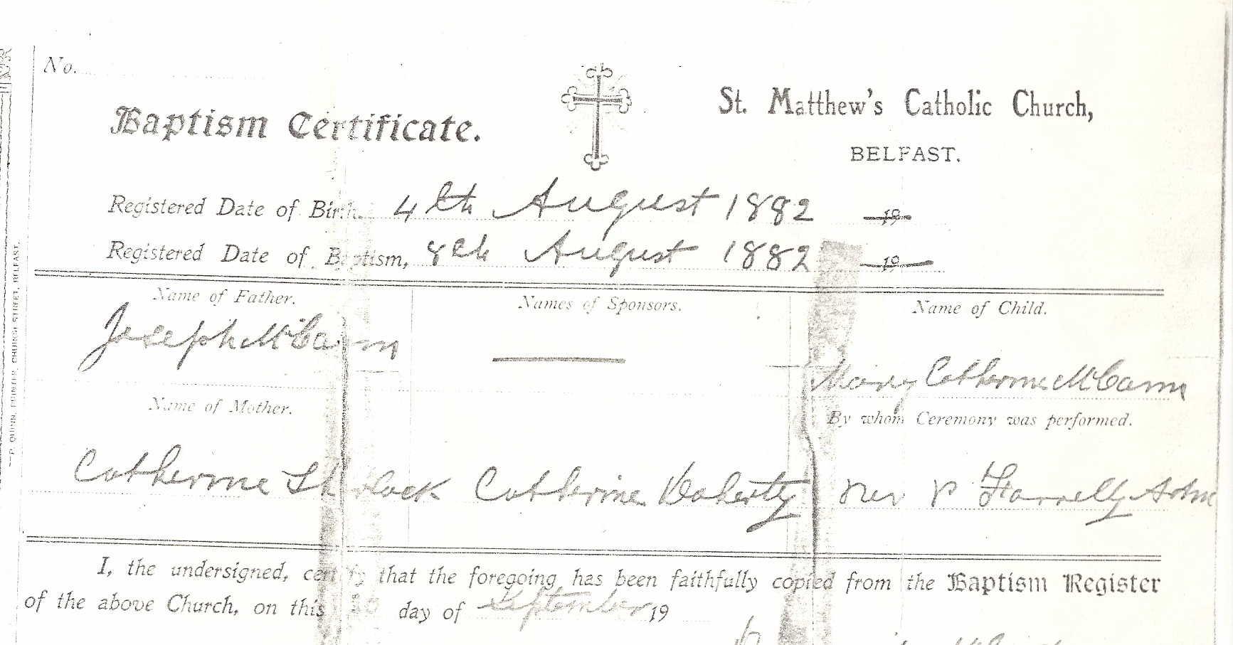 "Mary ""Mamie"" Holzmann McCann's birth certificate"