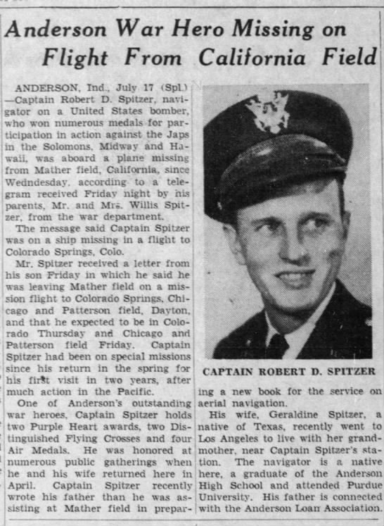 1943-07-17 The Indianapolis News (Indiana) re Cpt Robert D Spitzer